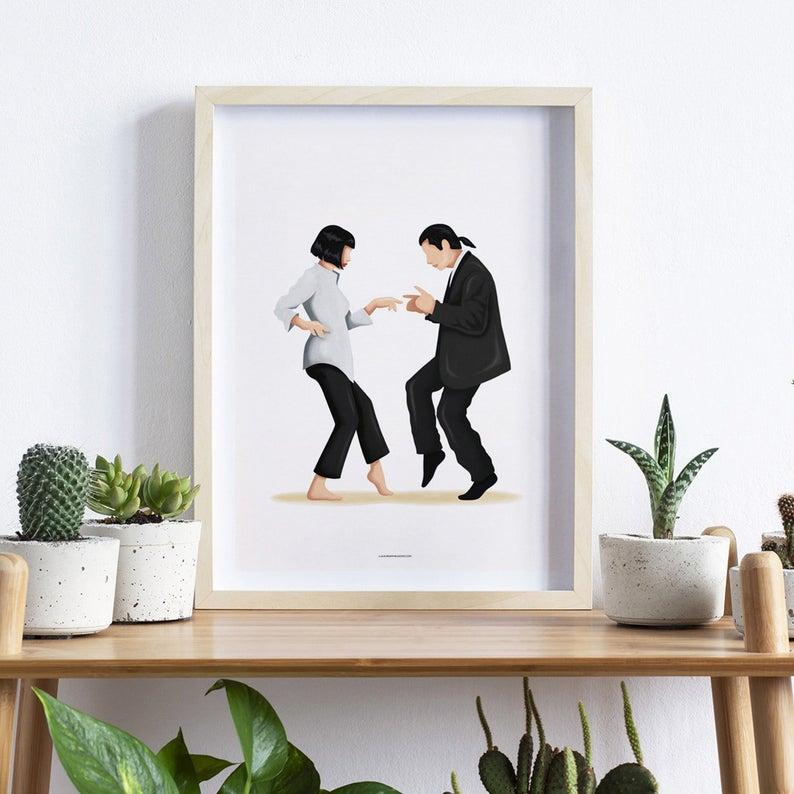 Photo of Cartel de música de baile Pulp Fiction Twist, impresión icónica de la cultura pop, regalo para ella, arte de pared divertido del arte pop, regalo de baile, póster de película, movimiento de baile