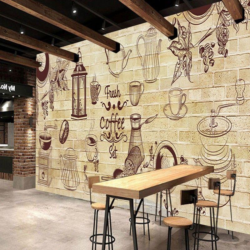 Cafe Decorative background wall painting lobby custom wallpaper bar ...