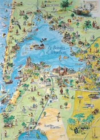 bassin d arcachon carte Épinglé par Michèle Tissot sur A Q U I T A I N E / B O R D E A U X