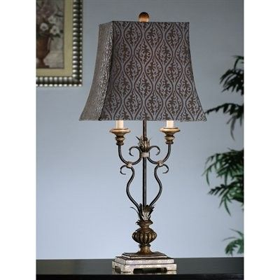 """Price: $123.65 Crestview Collection CVATP497 Pine and Gold Table Lamp - Metal and Resin Pine and Gold Table Lamp  7/10x10/14x12.5"""" shadeRectangular shade in light gray with dark gray printsMetal and resin constructed base in pine finish with gold accentsBeautifully works as a bedside night lamp or an accent to your living room or foyerOne year manufacturer's warranty"""