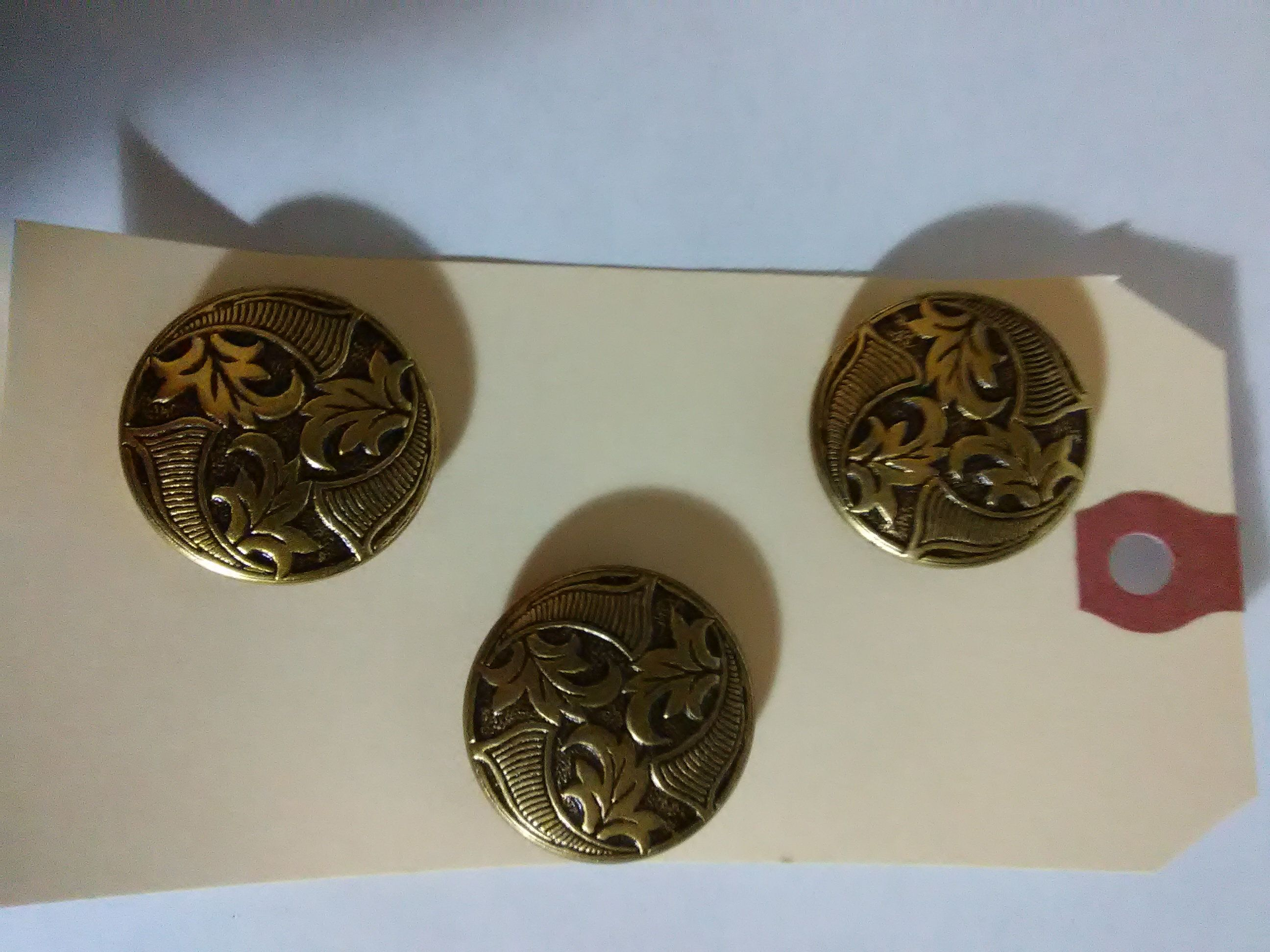 Set of 3 Vintage Metal Coat Buttons with Incised Leaves Self