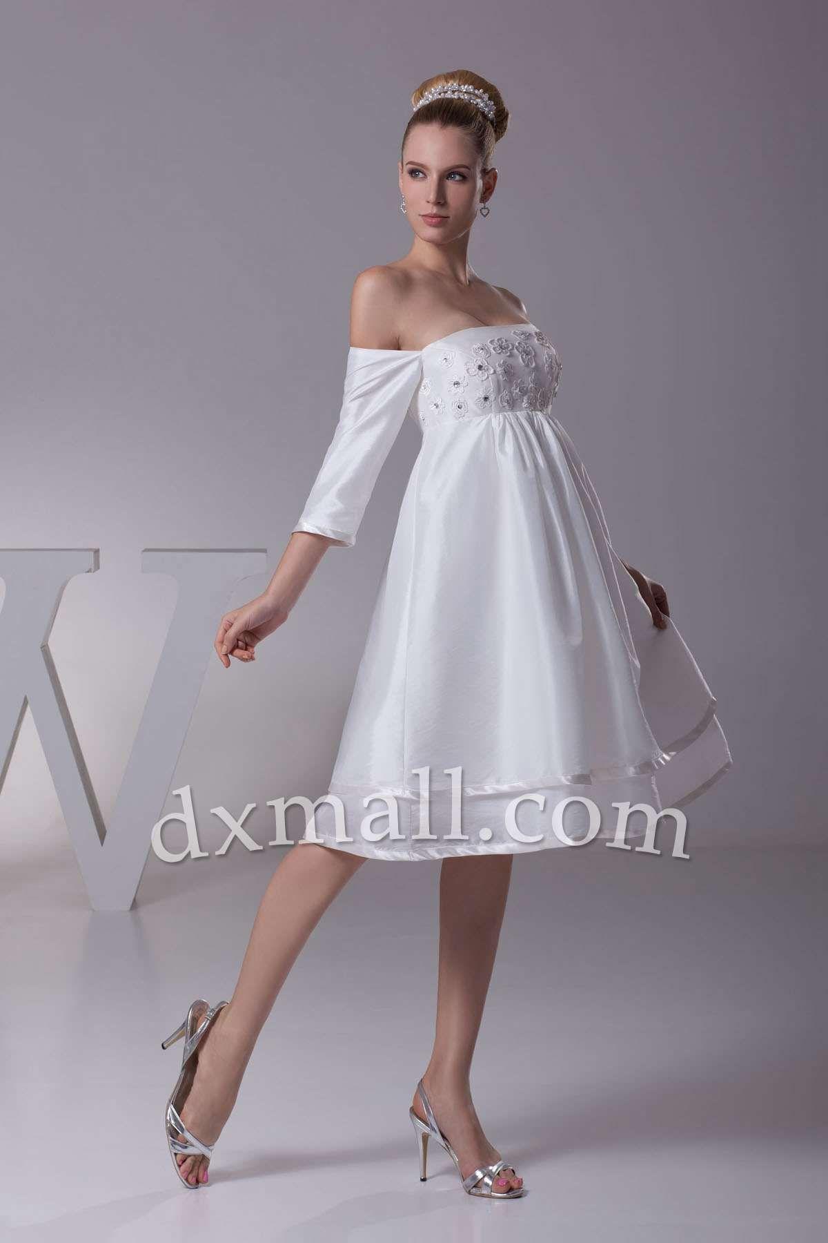 Short Wedding Dresses Bateau Knee Length Taffeta White