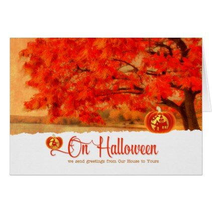 #from Our House to Yours - Halloween Autumn Tree Card - #Halloween #happyhalloween #festival #party #holiday