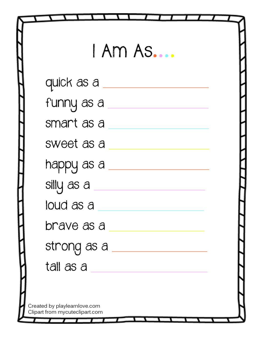 I Am As Worksheet From Play Learn Love With Images