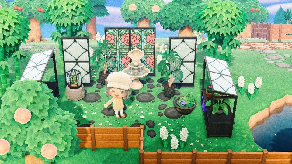 Loving My Pond Side Backyard Greenhouse Thanks To Some Of The Creative Minds On This Sub Credit In Th Animal Crossing Game Animal Crossing Qr Animal Crossing