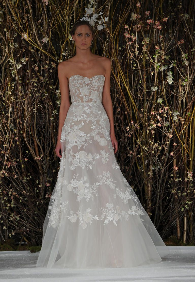 Sheer Strapless Gown With Tulle Bottom And Fl Details Mira Zwillinger Spring 2017