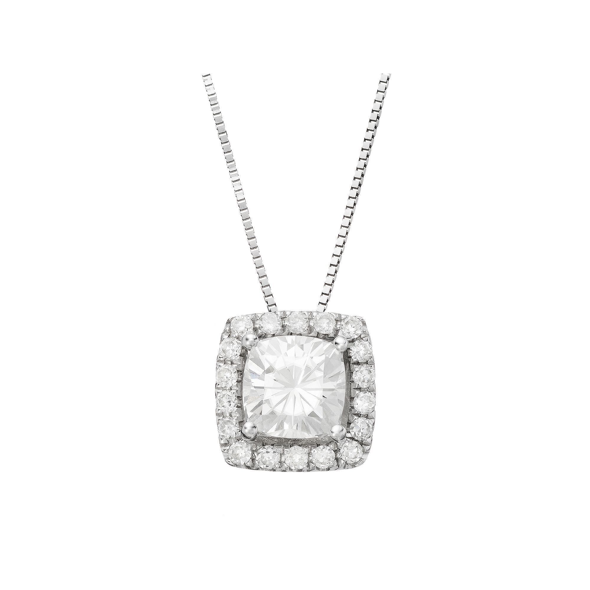 dc2889dc8ee Forever Brilliant 1 1 4 Carat T.W. Lab-Created Moissanite 14k White Gold  Halo Pendant Necklace