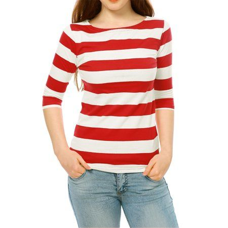 ab48a7baef Buy Women's Boat Neck Elbow Sleeves Slim Fit Striped T-shirt Top at  Walmart.com