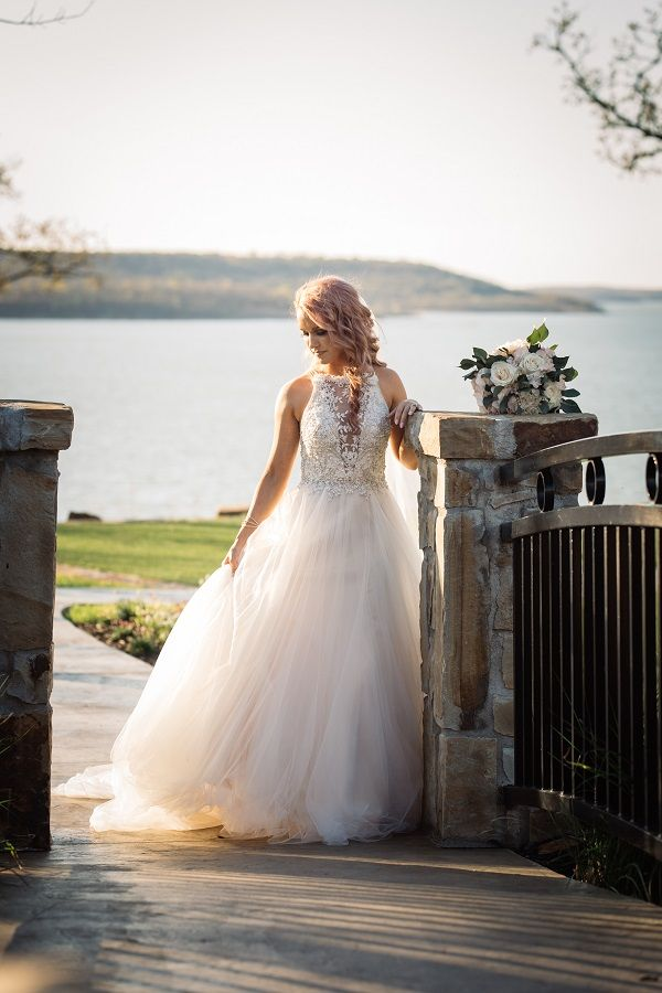 Gorgeous and unique wedding dress. Floral lace on top with flowy ...