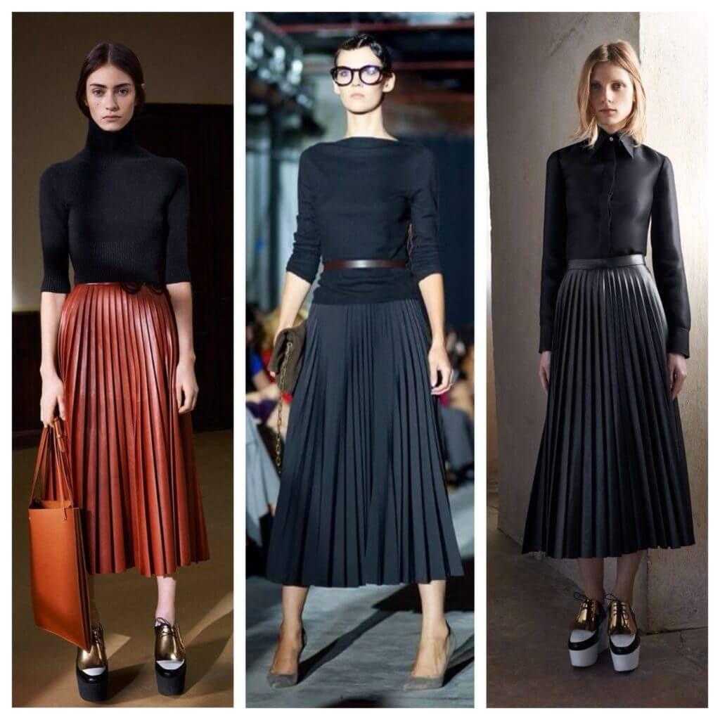 С чем носить юбку-плиссе ниже колена | Плиссированная юбка ...