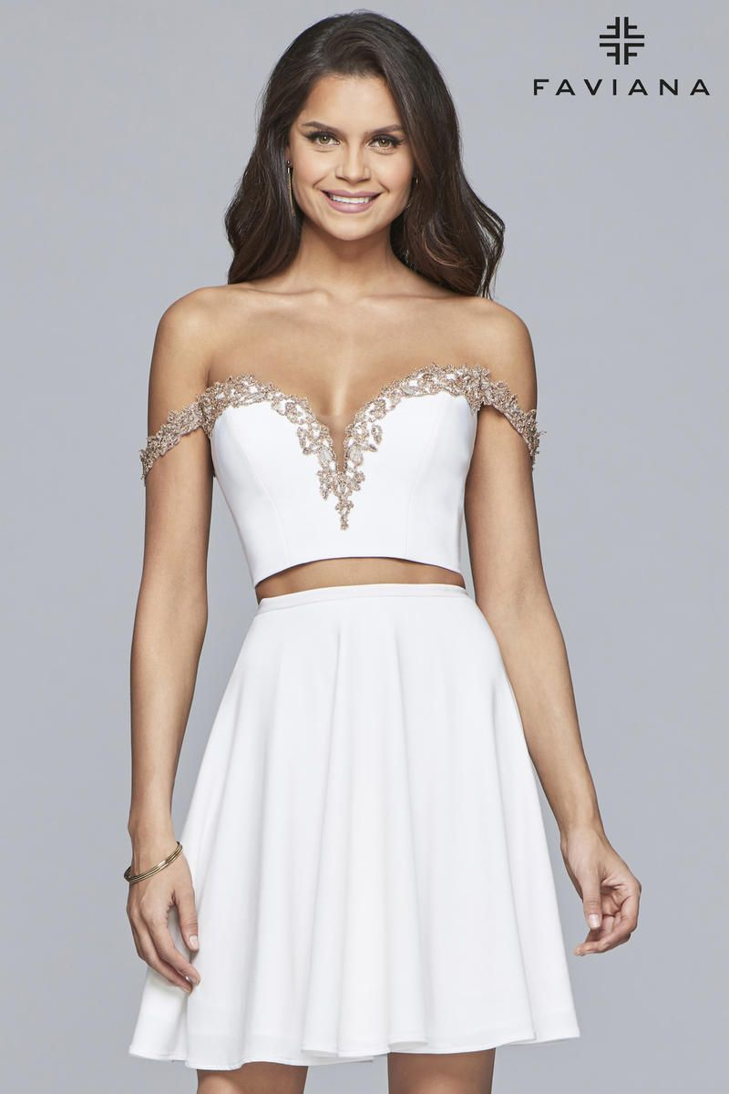 Faviana glamour s off shoulder short piece dress in