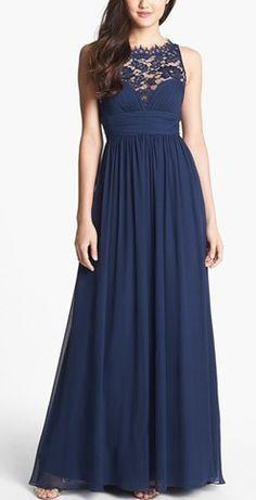 Navy blue chiffon dress. SO pretty! http://rstyle.me/n/n6rfan2bn ...
