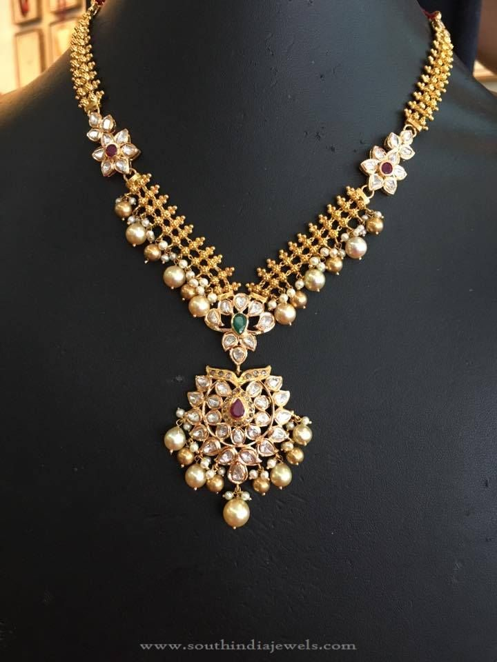 22k Gold Stone Necklace With Pearls Pearl Necklace