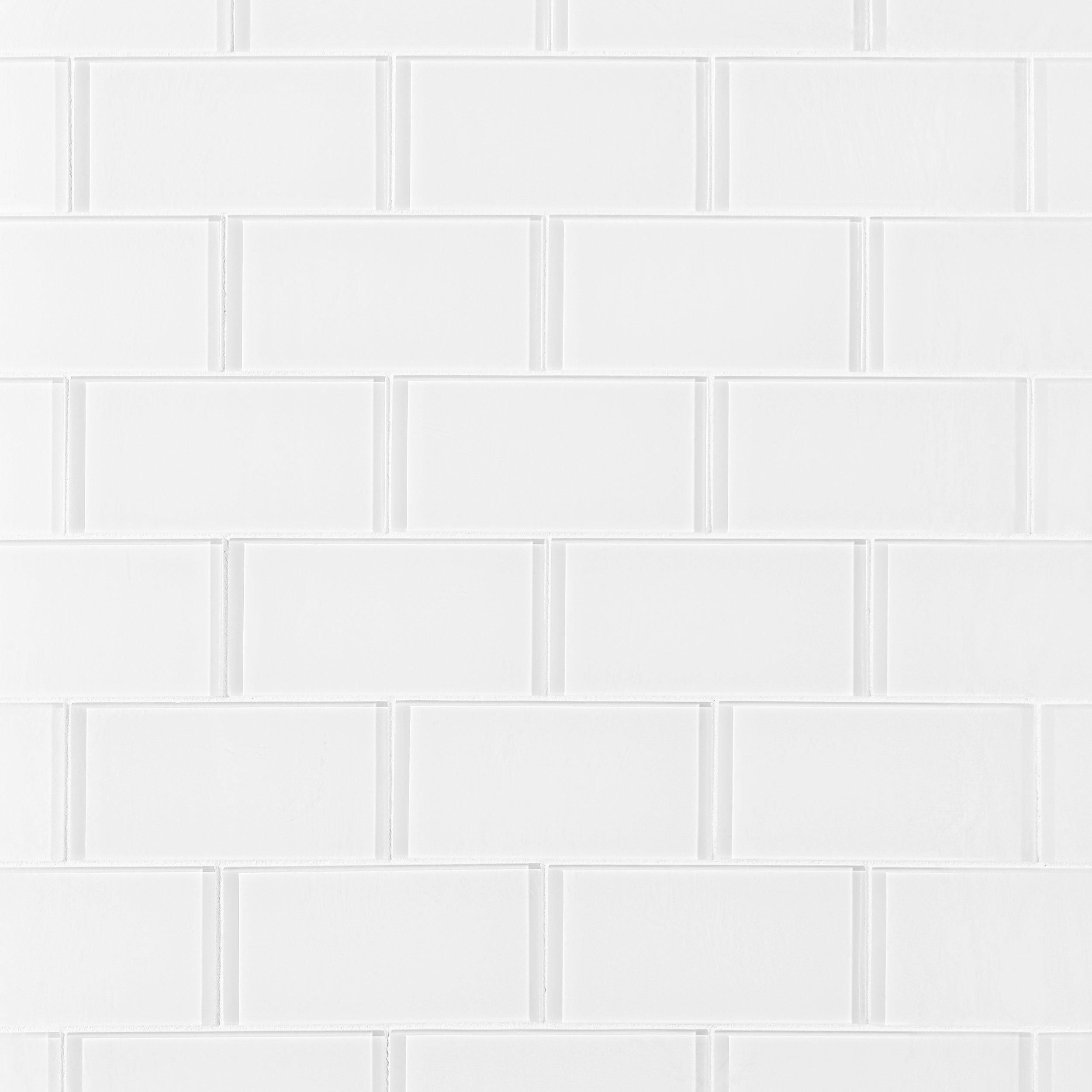 Pure snow white shiny glass tile that has  polished high gloss finish straight and perfectly cut to size edges of this decorative create continuity also liven up any room with in  in