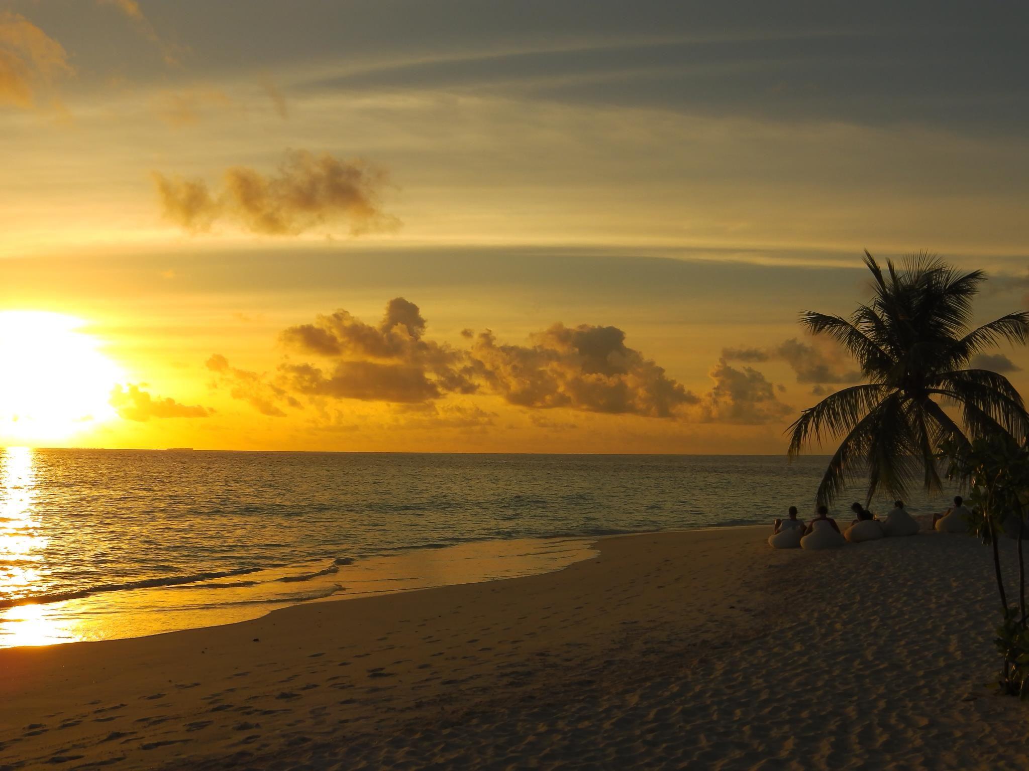 Sonnenuntergang im ROBINSON Club Maldives/Malediven