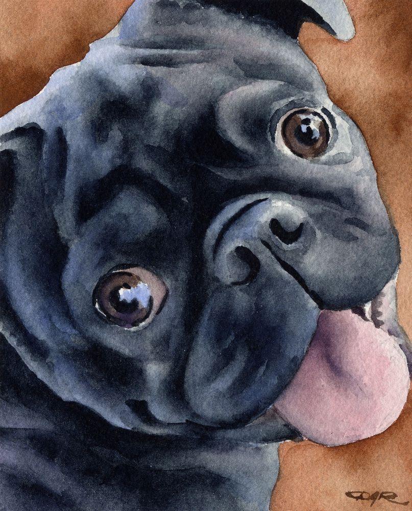 BLACK PUG PUPPY Dog Watercolor 8 x 10 Art Print by Artist DJR