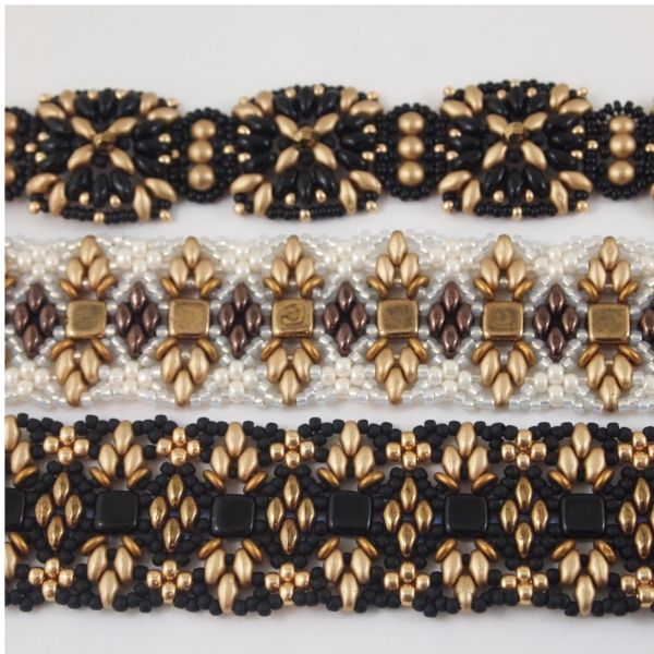 A trio of bracelets in gold,black and cream. The top is Deb Roberti's Maya pattern and the other two are Ella Des new Osseleta pattern