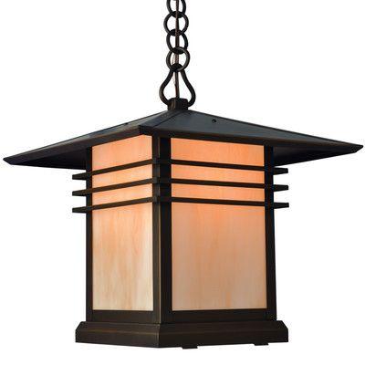 Loon Peak Sharp 1 Light Outdoor Hanging Lantern Shade Finish