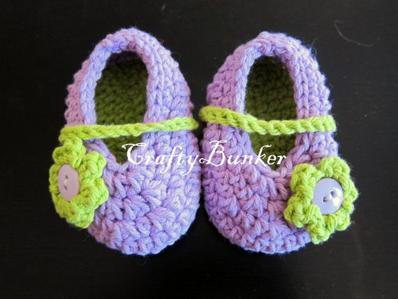 Purple and Green Baby Ballet Slippers by CraftyBunker on Etsy, $15.00