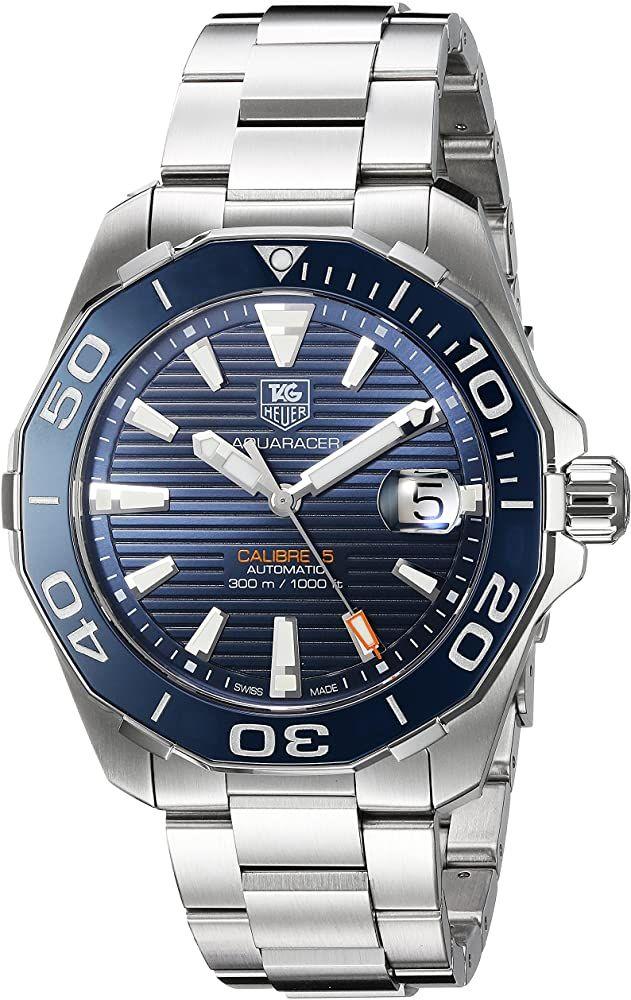 TAG Heuer 'Aquaracer' Reloj automático suizo de acero inoxidable, color: plateado (modelo: WAY211C.BA0928): Amazon.es: Relojes