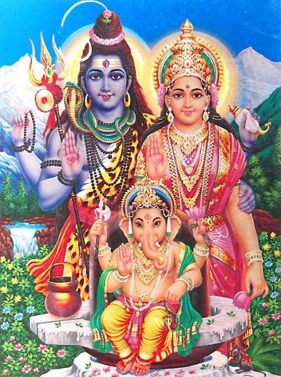Shiva,Parvati and Ganesha | Lord shiva family, Hindu deities, Shri ...