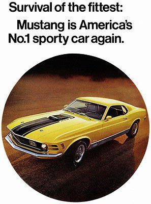 1970 Ford Mustang Mach 1 Promotional Advertising Poster With