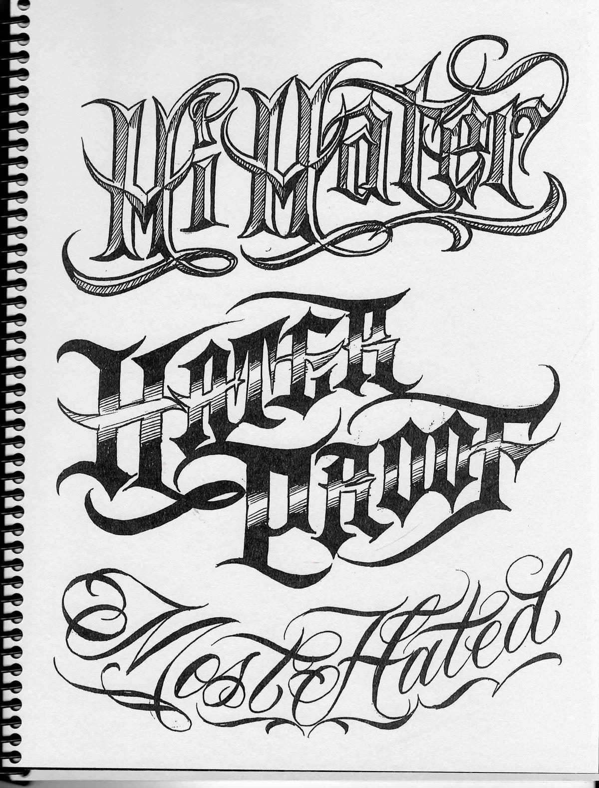 Chicano Lettering : chicano, lettering, Hater, Script, Chicano, Lettering,, Graffiti