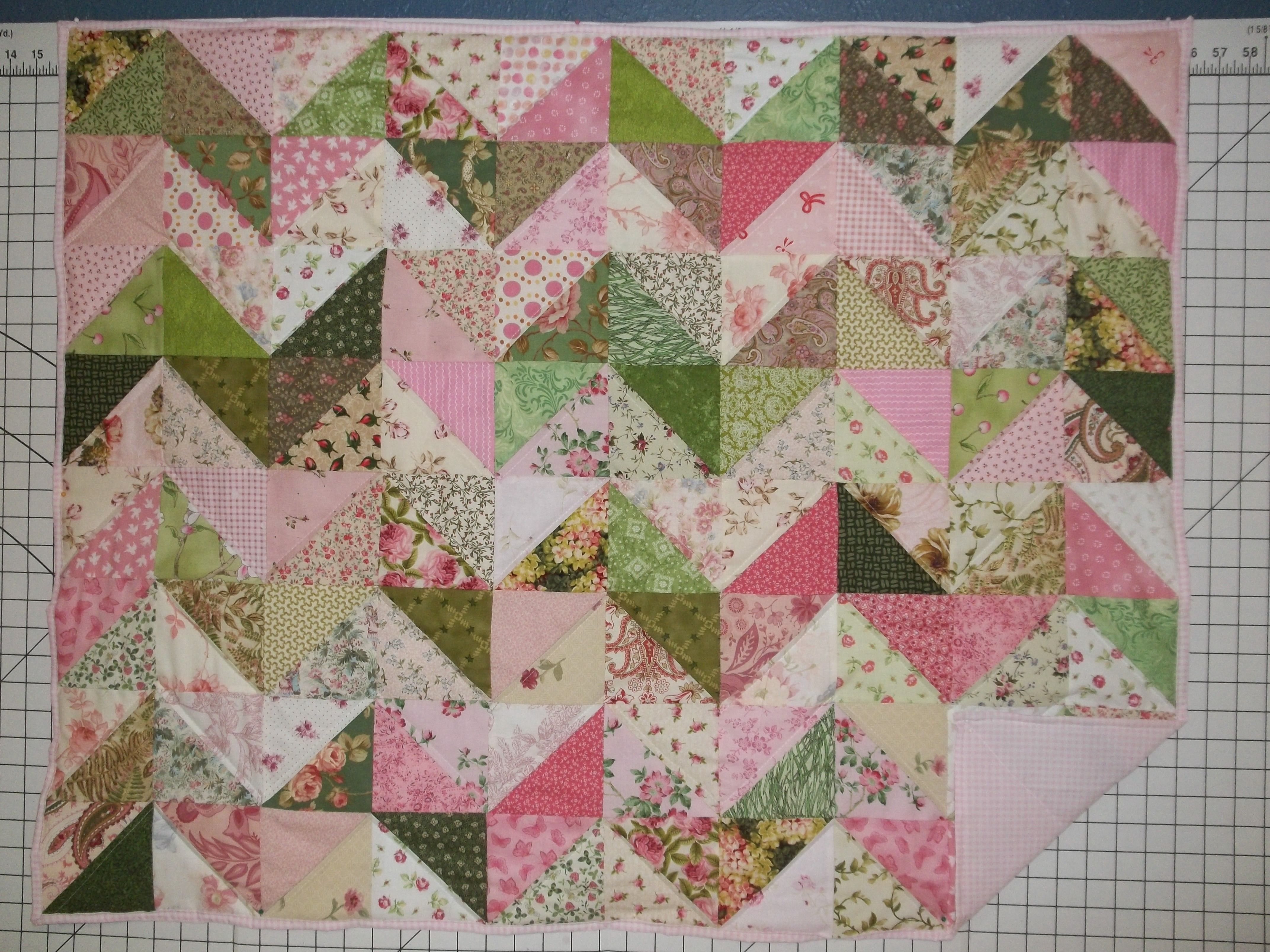 Pinks Creams And Green Low Volume Baby Quilt 40x40 Quilts Baby Quilts Blanket