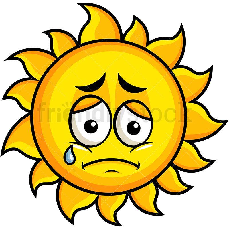 Teared Up Sad Sun Emoji Cartoon Vector Clipart