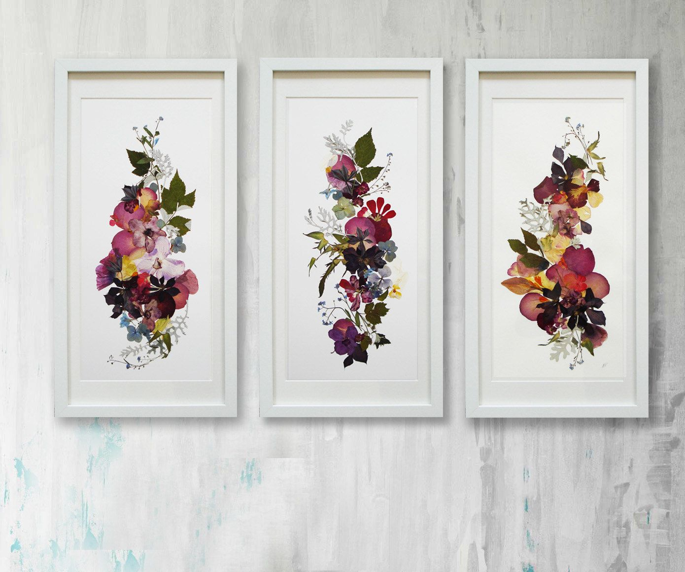 Set of 3 original plants art Floral art Horizontal artwork Flowers decor Pressed  flowers art Set