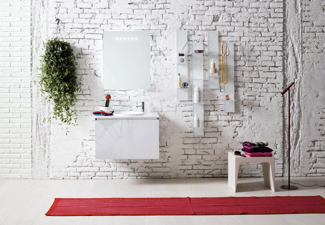 Contemporary washbasin cabinet / in wood / wall-hung / with illuminated mirror DOMINO ARTELINEA