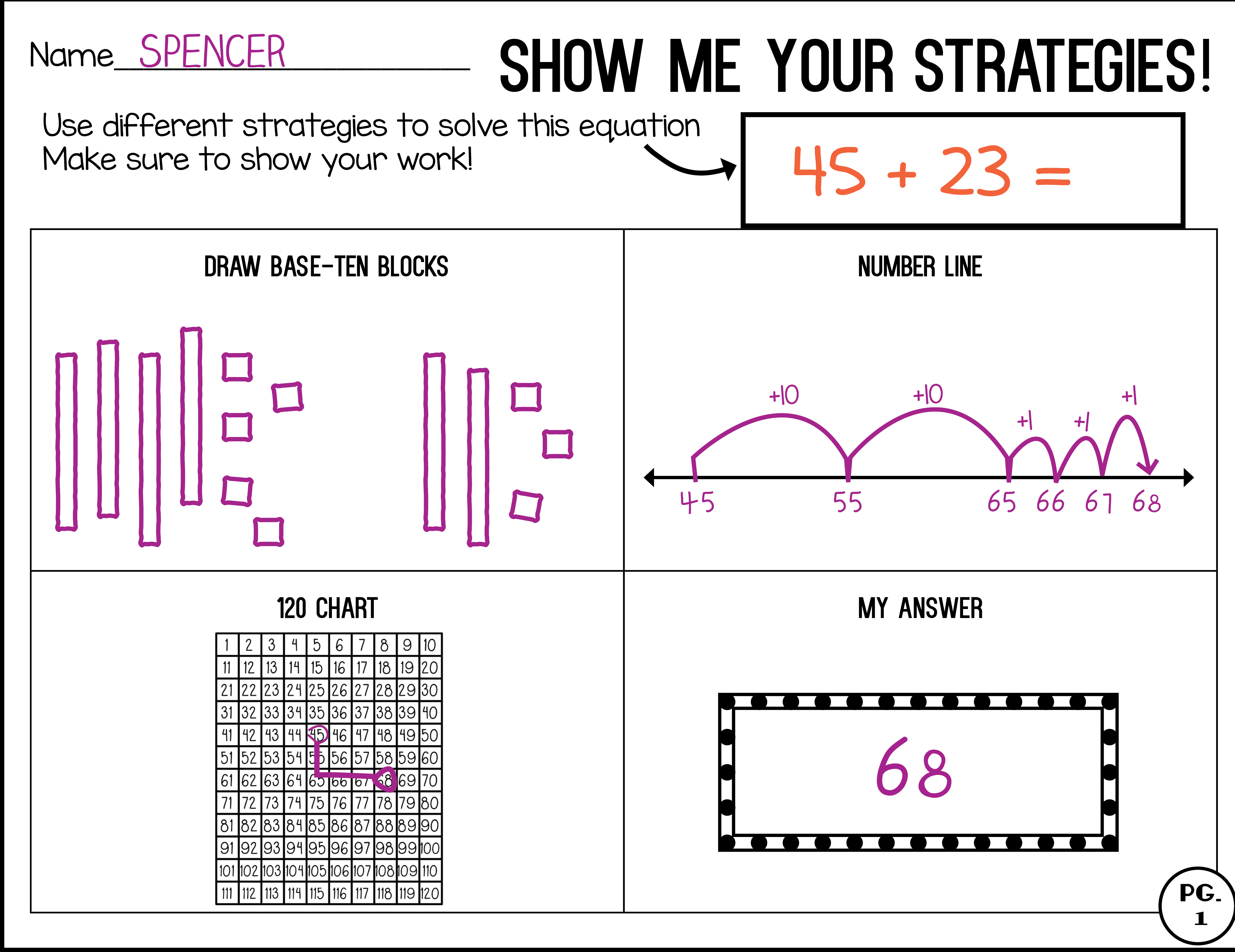 Show Me Your Math Strategies Customizable Addition