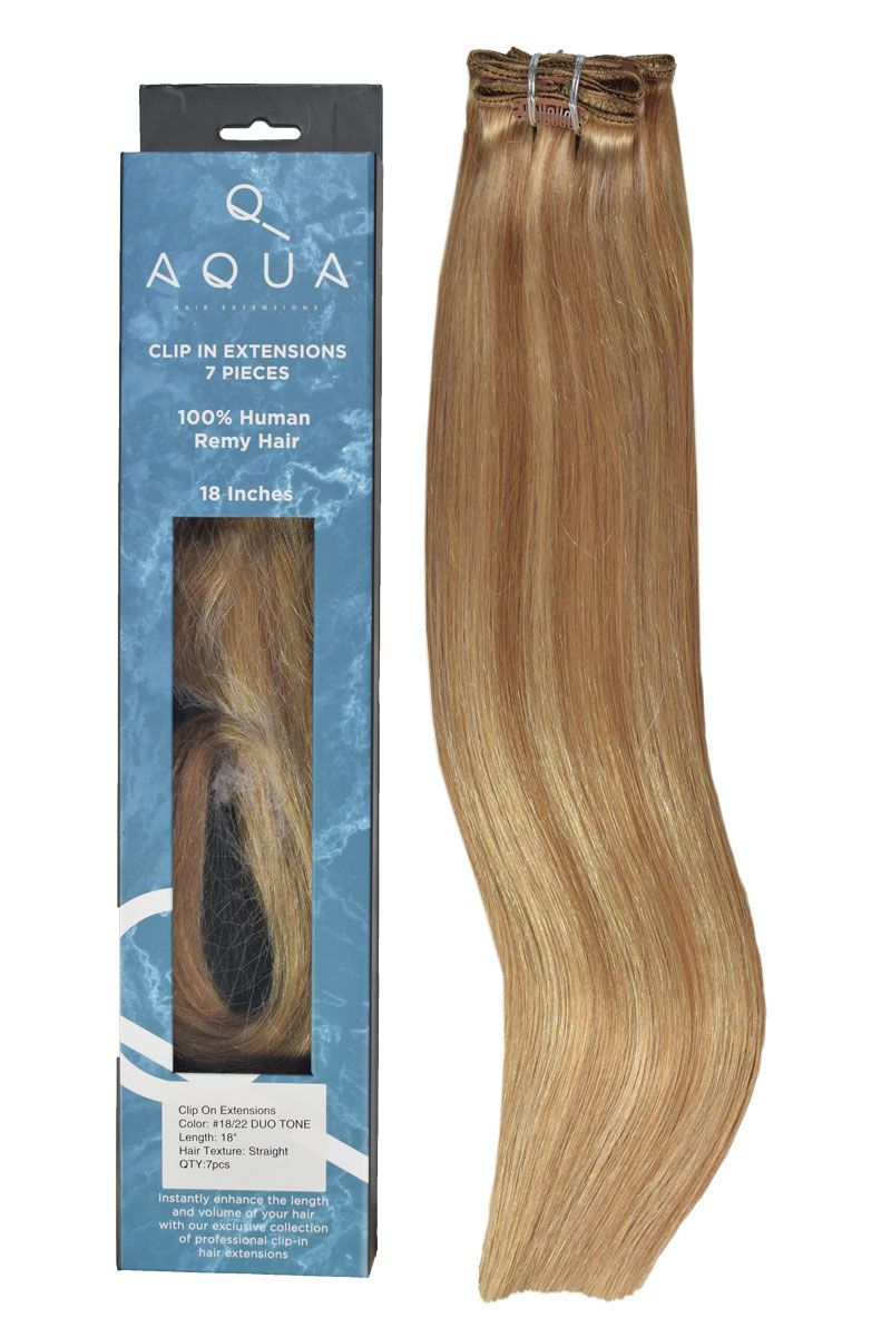Duo Tone Clip In Hair Extensions Color 1822 Highlighted Clip In