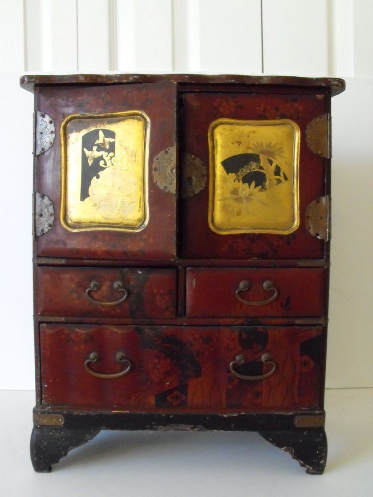 16 Antique Anese Wood Red Lacquer Chest Small Tansu Gold Paint Br