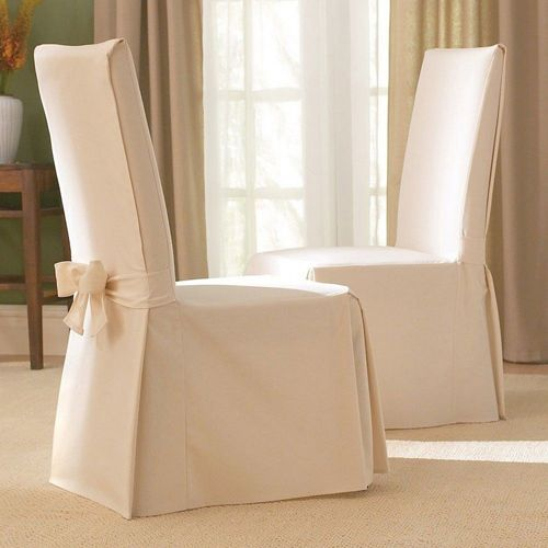 Natural Cotton Duck Long Dining Room Chair Slipcover