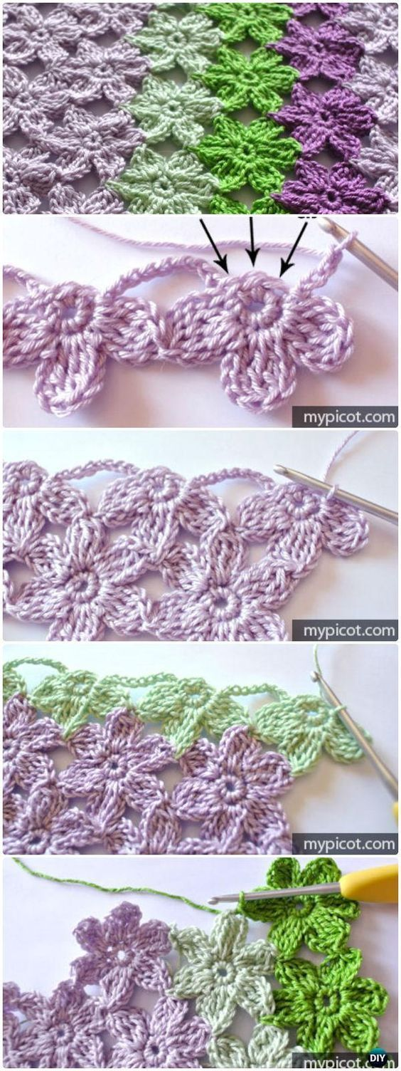 Crochet Joint Flower Stitch, technique, Free Pattern, shawl, wrap ...