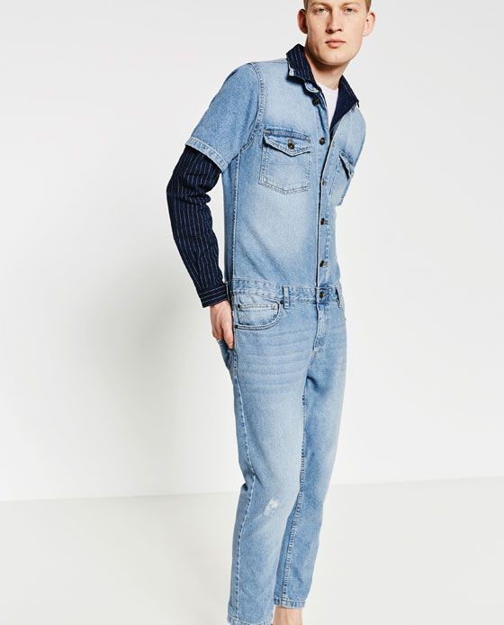 65ffd6e54664 Image 1 of FADED DENIM JUMPSUIT from Zara