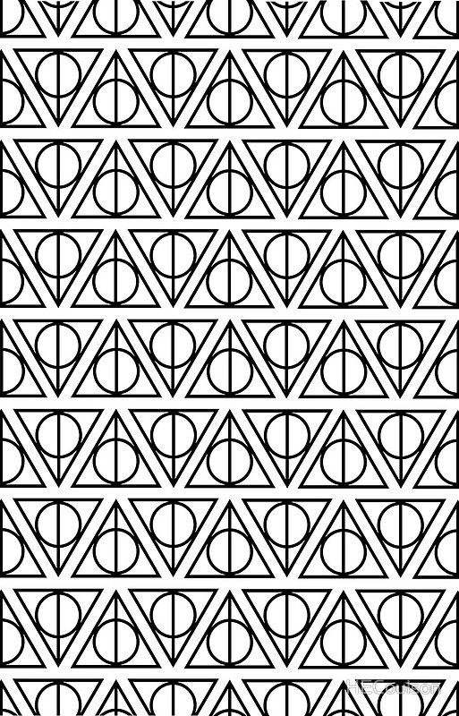 Harry Potter Deathly Hallows On White By Hecoulson Stencil Patterns Pattern Coloring Pages Coloring Pages