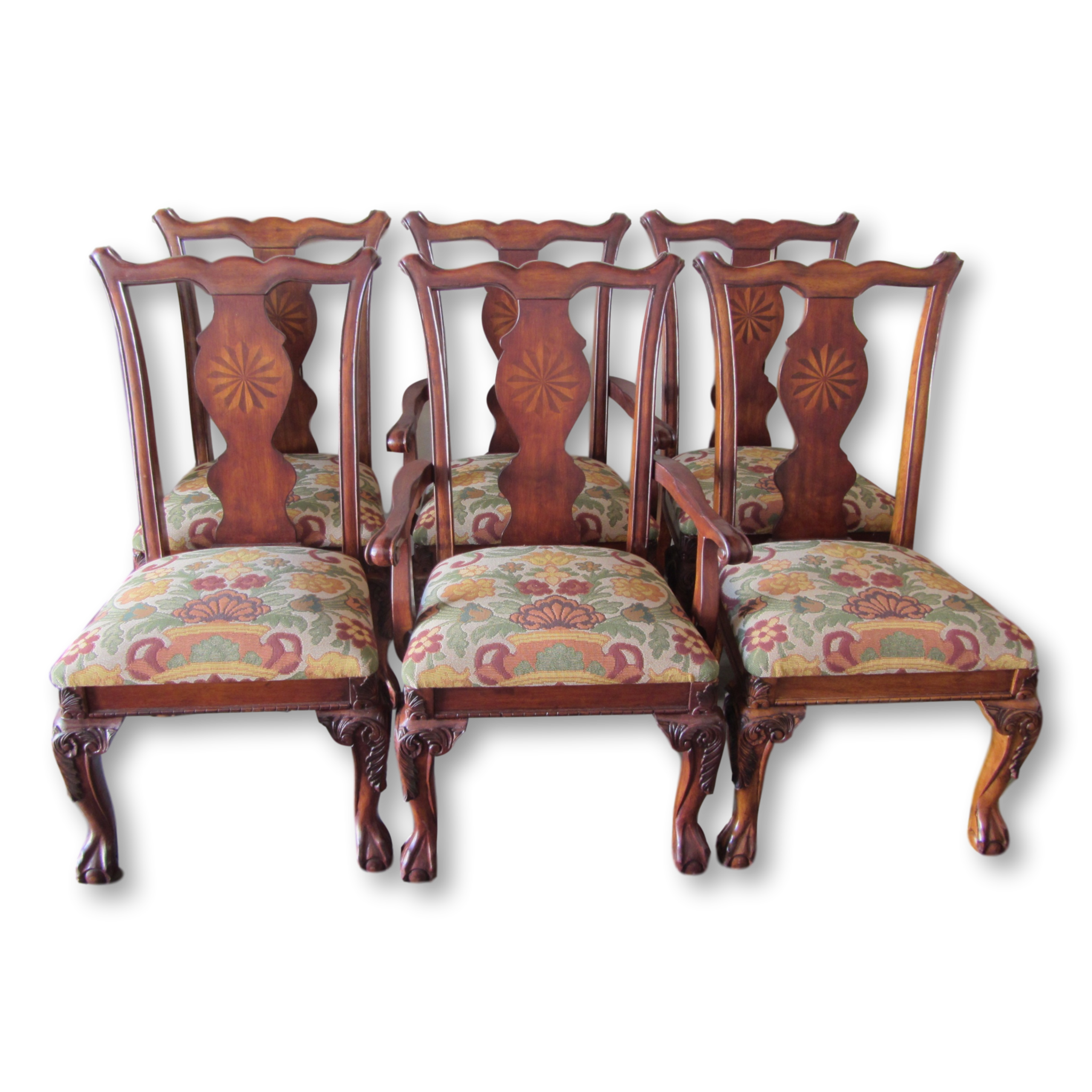 Decorate Your Dinning With These Lovely Christmas Chair: Rustic Queen Anne Dining Chairs With Marquetry Splat-Set