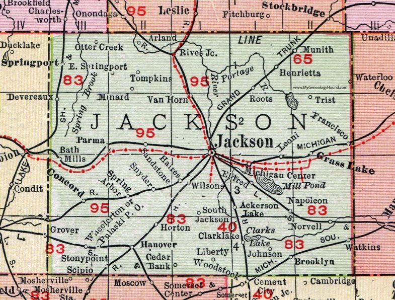 michigan center lake map Jackson County Michigan 1911 Map Rand Mcnally Michigan Center michigan center lake map