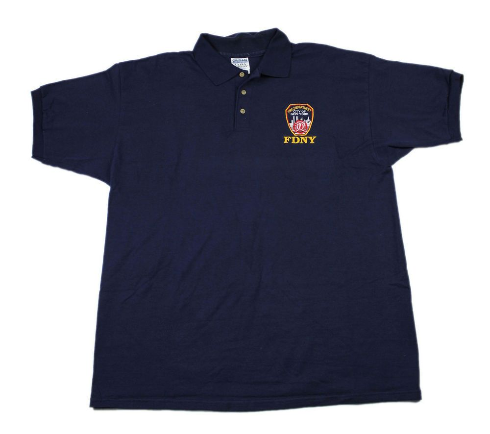 615b8d7aa FDNY Fire Department of New York Navy Blue Cotton Polo Shirt Mens Size XL