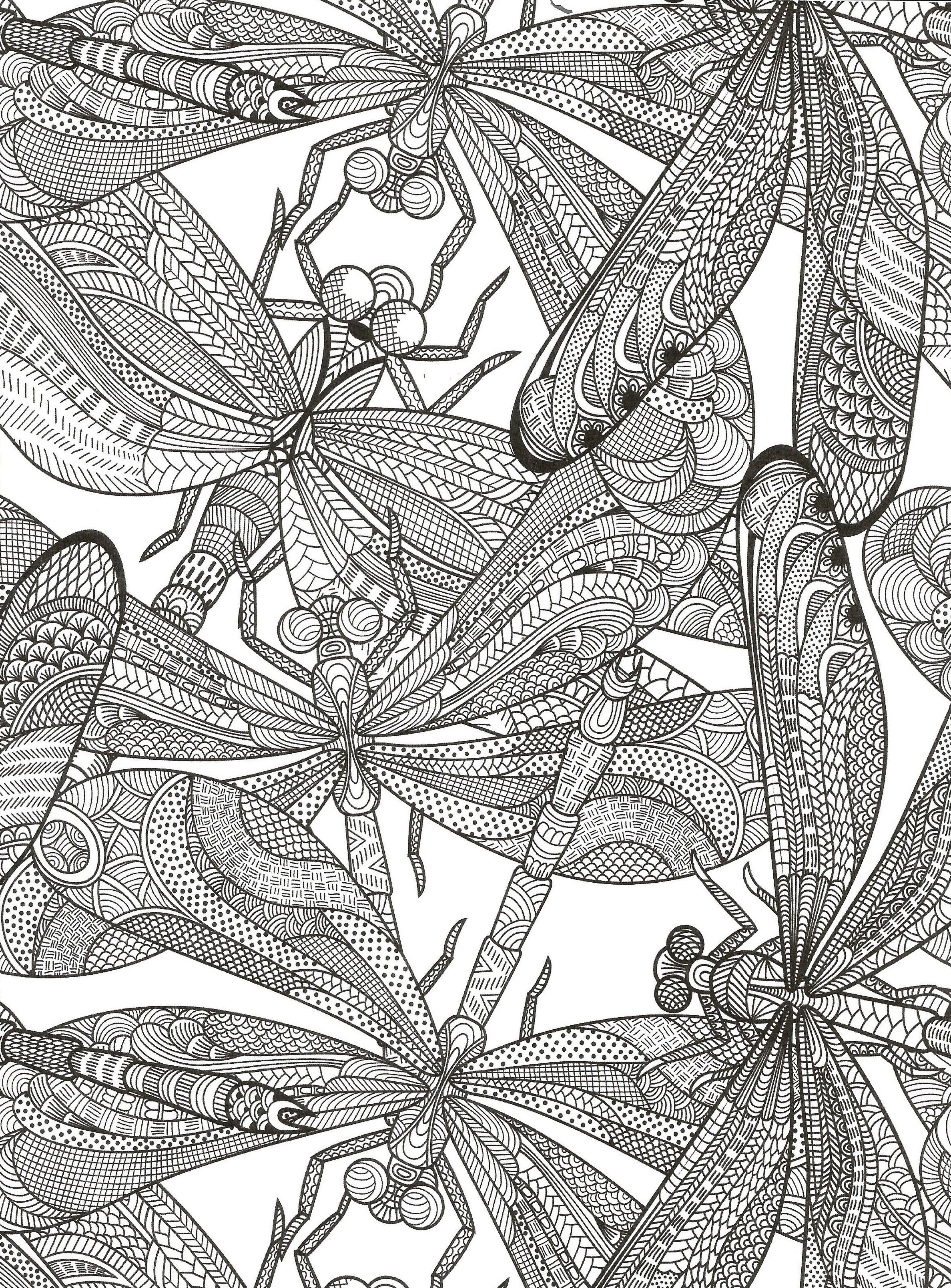 Dragonfly coloring page for adults. | Coloring | Pinterest ...