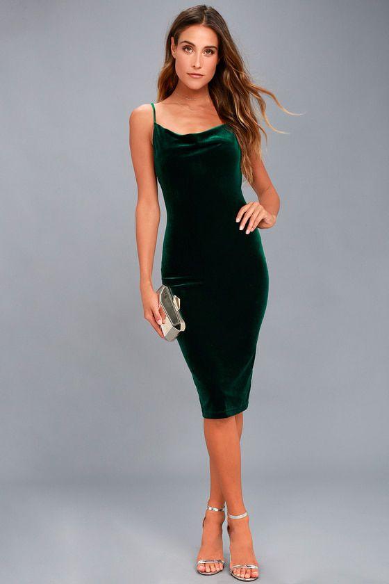 Jazzy Belle Dark Green Velvet Dress Green Velvet Dress