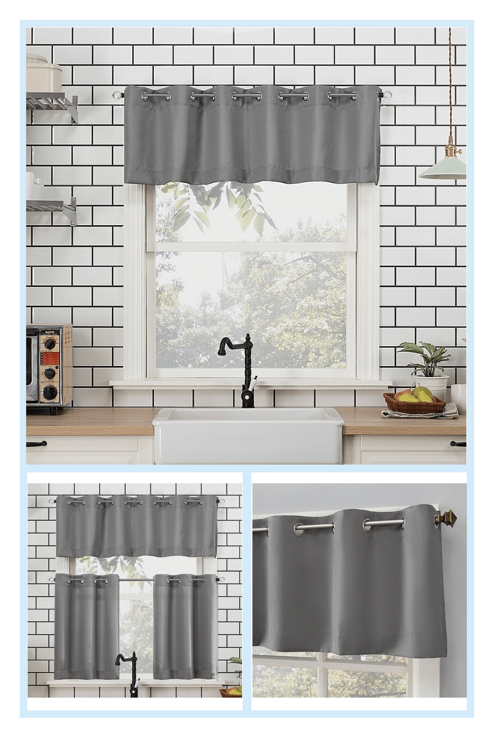 No 918 Dylan Casual Textured 14 Kitchen Curtain Valance In Gray Grey Casual Curtain Dylan Gray Grey Kitchen N Kitchen Curtains Valance Curtains Curtains