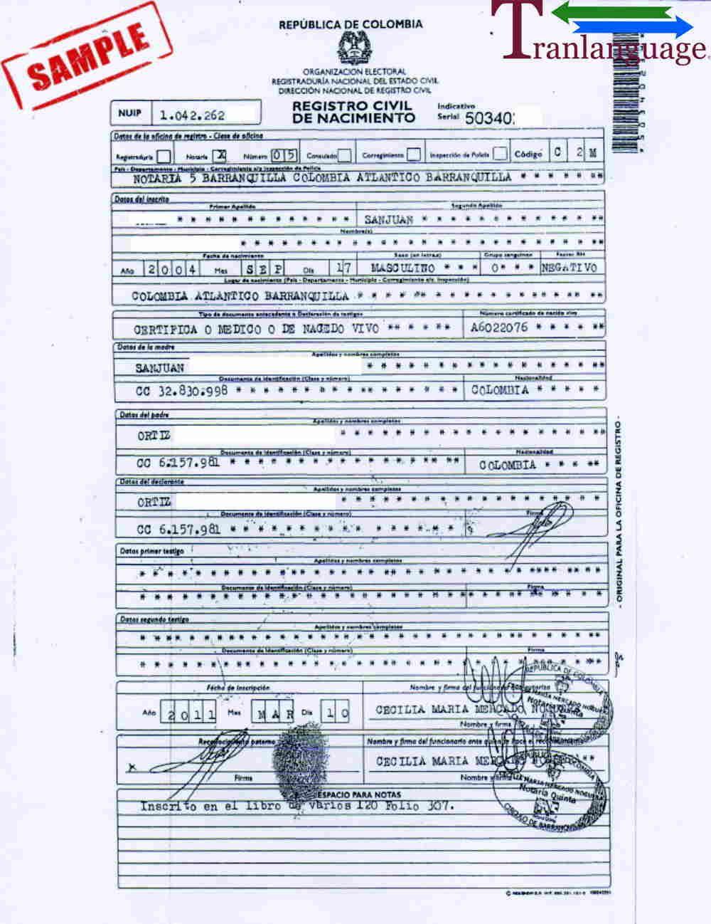 Birth Certificate Colombia Ii Inside Birth Certificate Translation Template Uscis Business Template Birth Certificate Templates Colombian birth certificate translation template