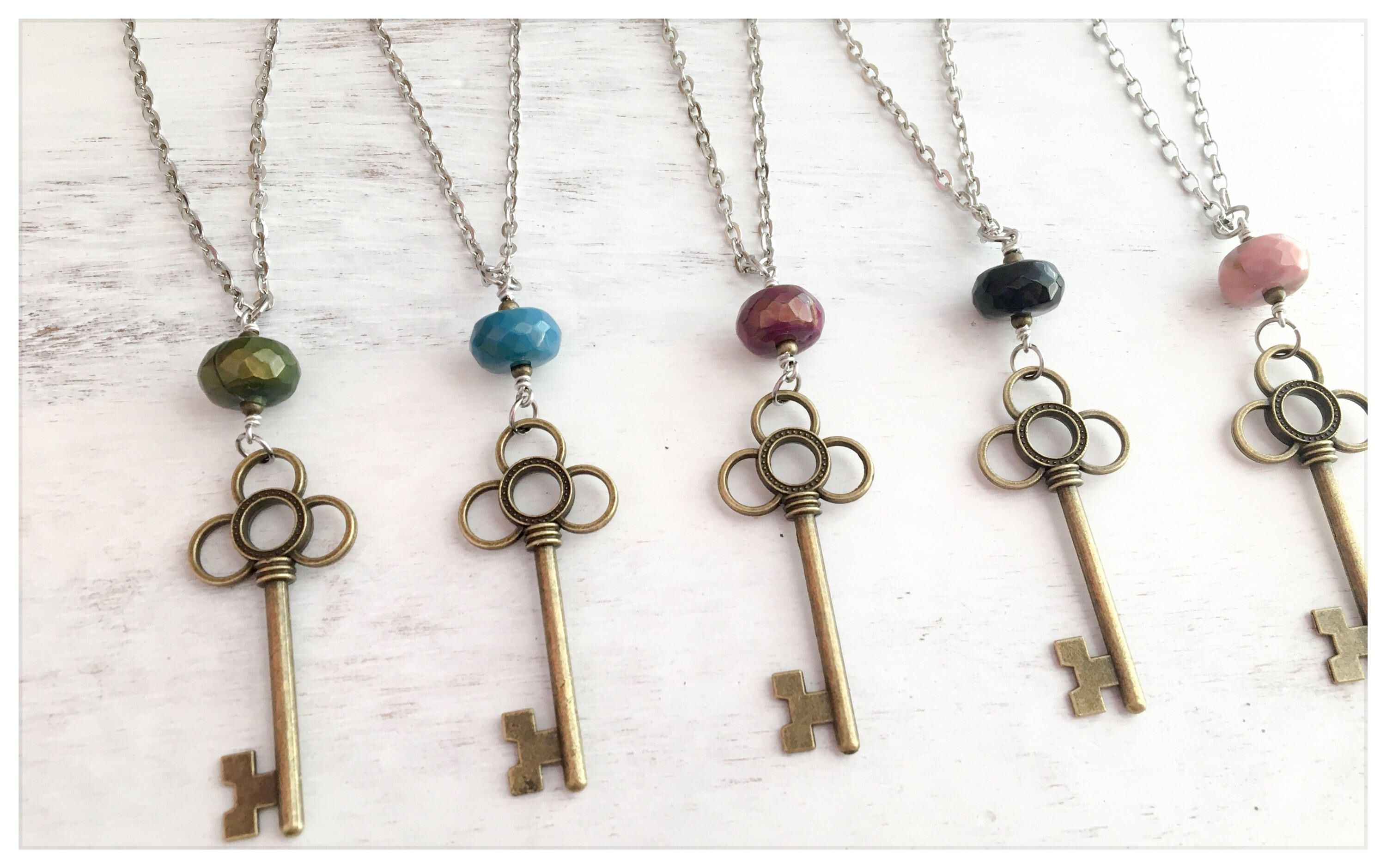 bead pin jewelry necklaces jewellery charm brass long key necklace trendy fashion