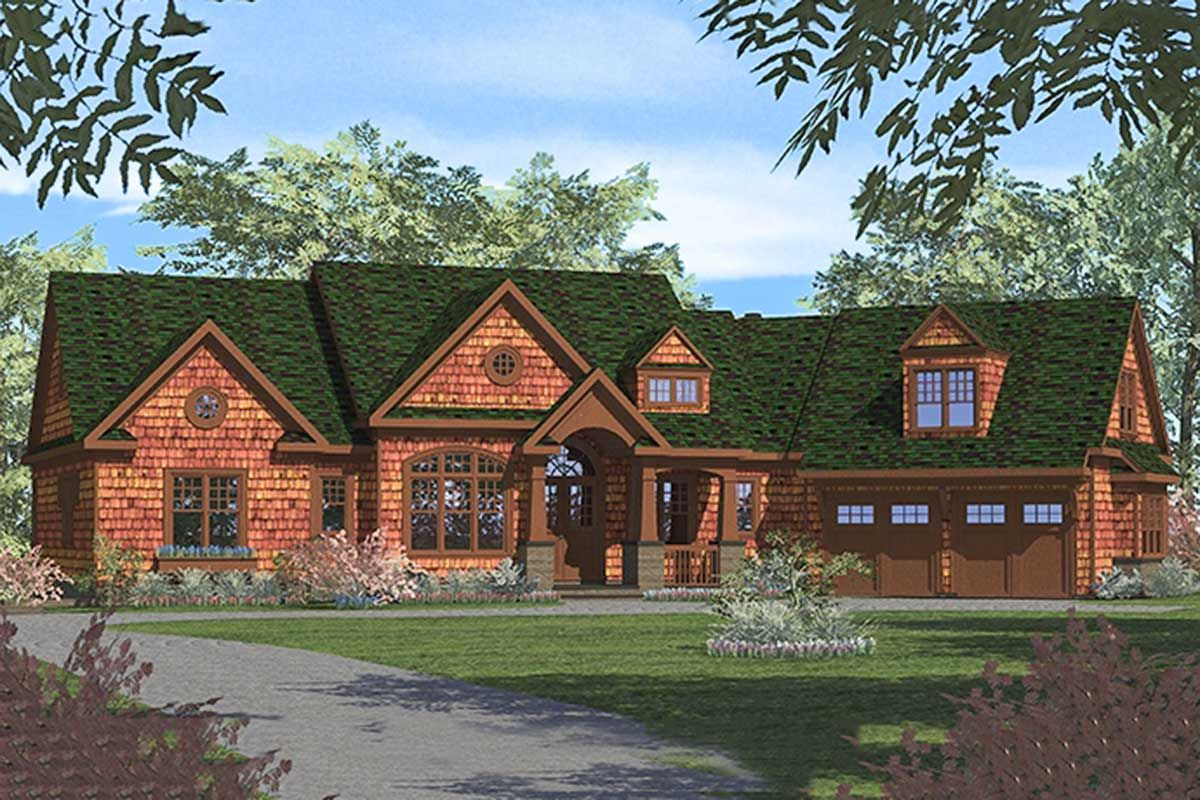 Plan 17739lv Rustic Ranch With Finished Lower Level House Plans Craftsman House Plans Craftsman House