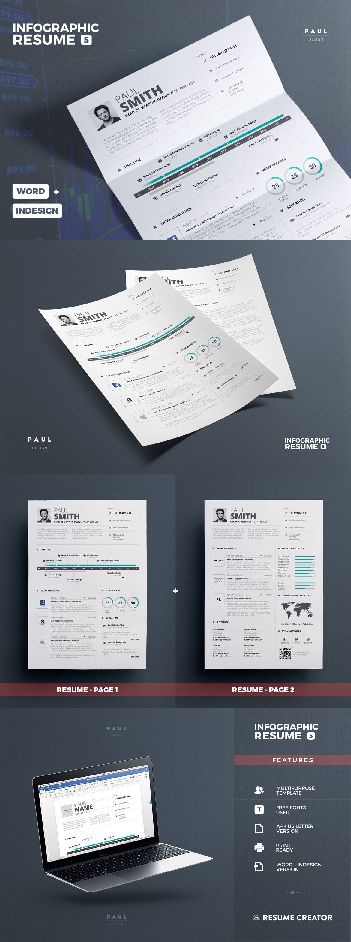professional and creative infographic resume    cv design