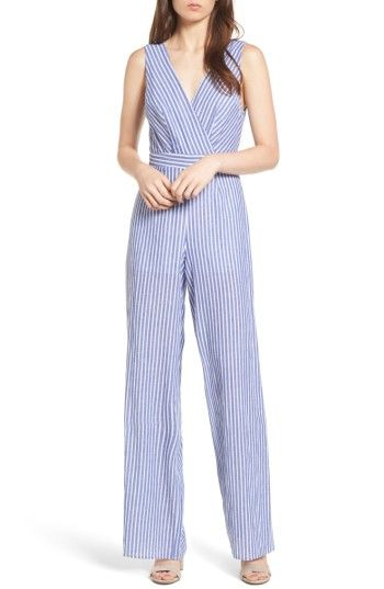36c605954872 Free shipping and returns on Dee Elly Stripe Cotton Jumpsuit at  Nordstrom.com. Blue-and-white stripes add true summertime charm to a cotton  jumpsuit styled ...