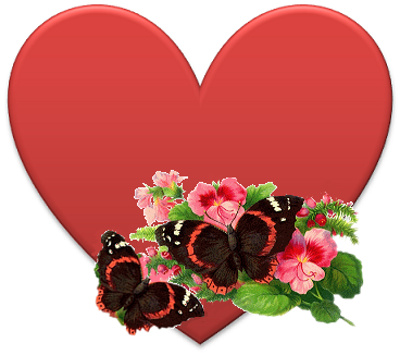 heart with butterflies and flowers
